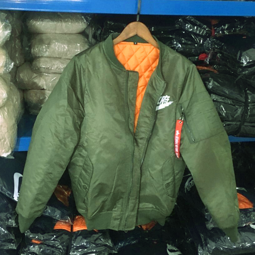 Ma1 bombardero chaqueta gruesa 2017 chaquetas del invierno abrigos hombres ejército verde Kanji japonés Merch Flight Coat Streetwear impreso
