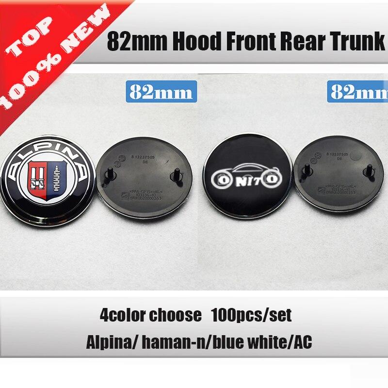 Wholesale 100PCS lot 82mm 74mm Car Emblem Badge Hood Front Rear Trunk Logo stickers for E46