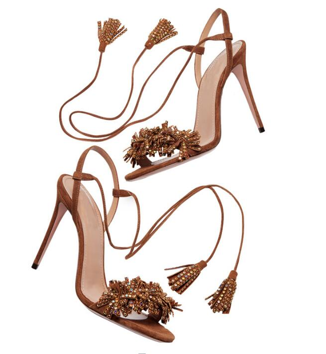 Carpaton Fashion Crystal Embellished Suede Fringed High Heel Sandals Summer Open Toe Sexy lace-up Thin Heels Shoes Brown Carpaton Fashion Crystal Embellished Suede Fringed High Heel Sandals Summer Open Toe Sexy lace-up Thin Heels Shoes Brown