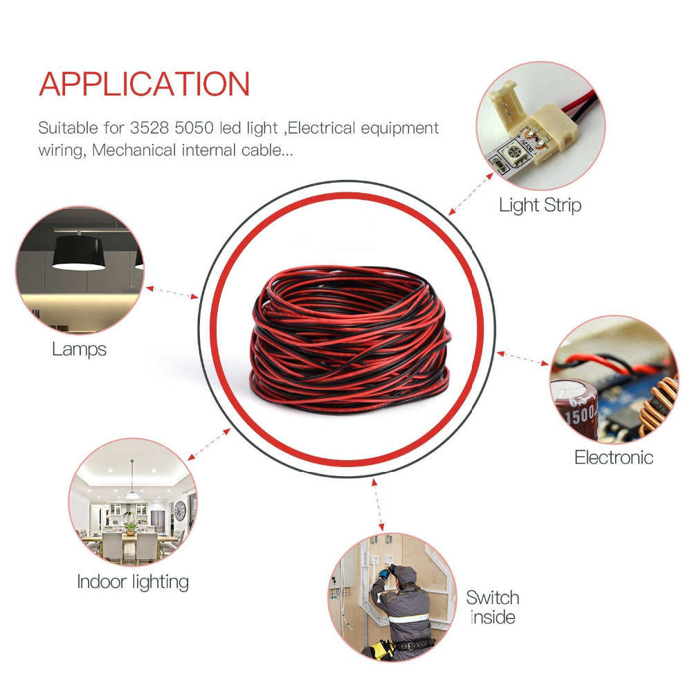 2pin Extension Cable Wire Cord 20awg Electrical 2 Wiring Lights In Series Or Parallel Conductor Line Ul1007 Strands Tinned Copper Wires Cables From