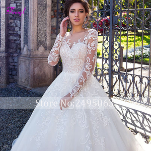 Image 3 - Fmogl graciosa apliques de manga longa vestidos de noiva linha a 2020 vintage colher pescoço botão plus size vestido noiva