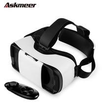 Askmeer 3dแว่นตาวิดีโอหมวกกันน็อคกระดาษแข็งมือถือ360 vrแว่นตาความจริงเสมือนแว่นตาสำหรับiphone 6/6 s plus +ไร้สายควบคุม