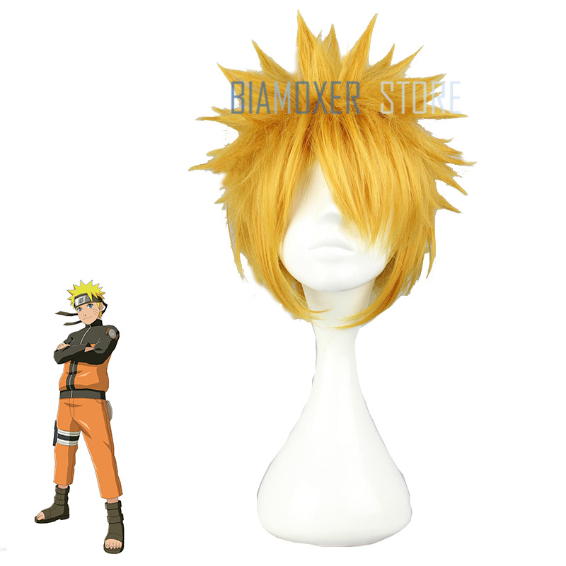 Biamoxer New NARUTO Naruto Uzumaki Cosplay Wigs 30cm Short Yellow Heat Resistant Synthetic Hair Perucas Cosplay Wig