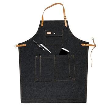 Tabliers Personnalisés Avec Logo   Denim Cowboy Tablier BBQ Senior Coton Cuisson Bavoir En Cuir Sangles Tablier De Cuisine Pour Femmes Hommes Cuisine Serveuse Logo Imprimé Personnalisé
