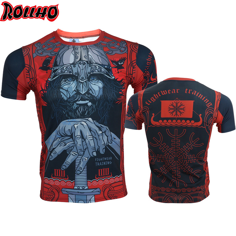 ROLLHO Old Beard Muay Men Thai T Shirt Homme Boxing MMA T Shirt Gym Tee Shirt Fighting Fighting Martial Arts Fitness Training