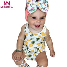 Summer 2018 Newborn Toddler Baby Girls Romper with Pineapple Tassel Infant Baby Jumpusit Wasit One-Pieces Sunsuit Kids Clothes(China)