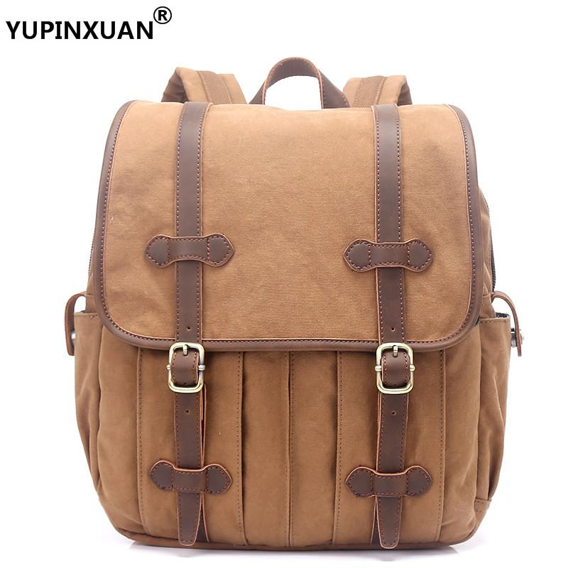 YUPINXUAN Retro Mens Canvas Backpack 14 Laptop Rucksacks Leather Hasp Travel Daypacks Teenager Large Capacity School Bags Big kaukko large capacity shoulder bag mens traval canvas backpack unisex bags for teenager school knapsacks