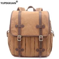 YUPINXUAN Retro Mens Canvas Backpack 14 Laptop Rucksacks Leather Hasp Travel Daypacks Teenager Large Capacity School