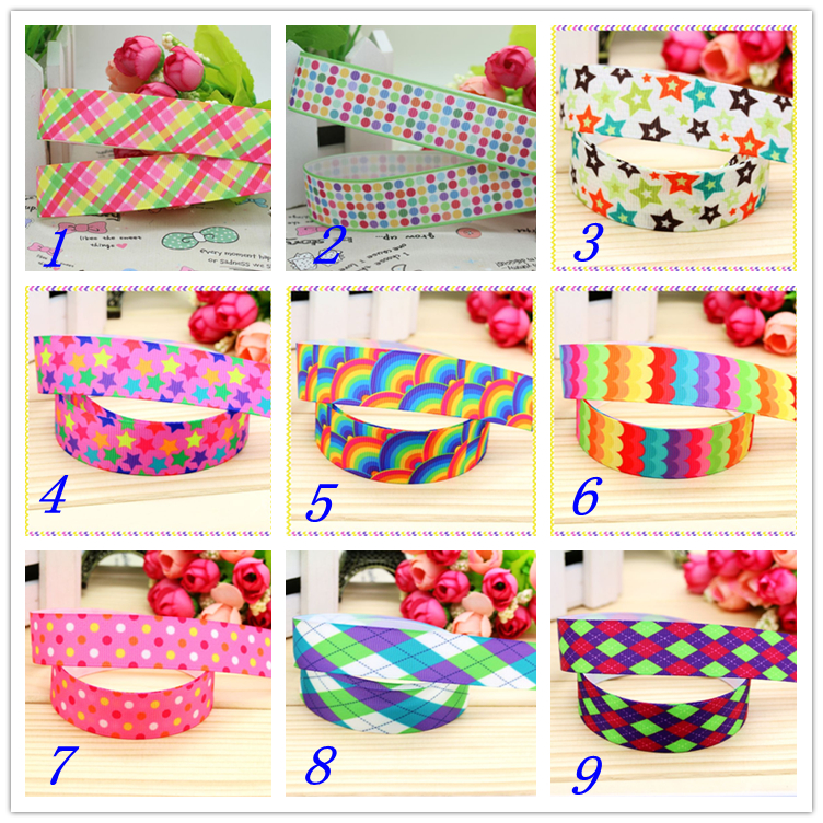 78'' Free shipping plaid chevron rainbow printed grosgrain ribbon hairbow headwear party decoration diy wholesale OEM 22mm S380