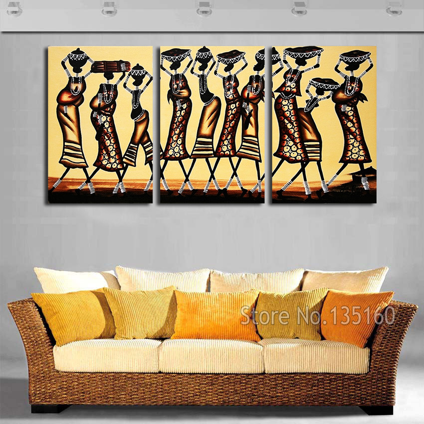 Abstract African Women Wall Art Painting On Canvas Vintage -1358