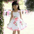 Crianças Meninas Bow-knot Flor Traje Vestido de Uma Peça Vestido de Festa Vestido de Verão