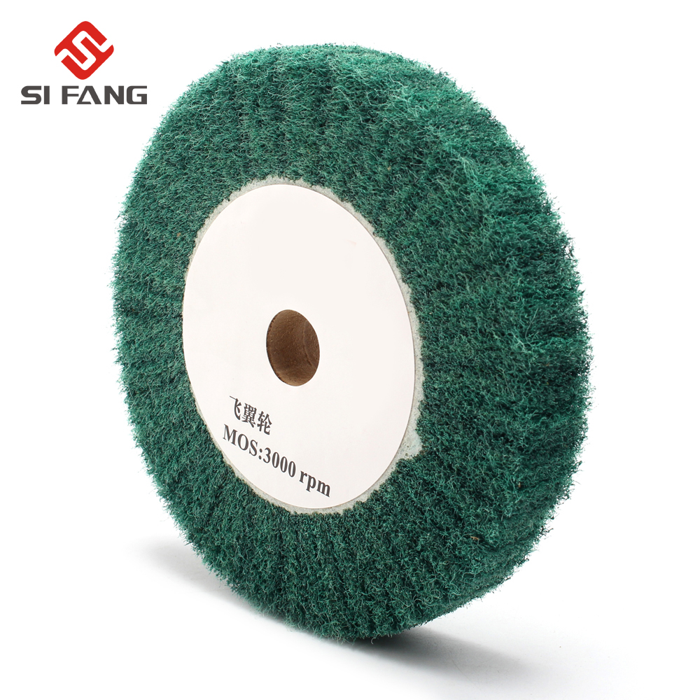 4''/5''/6''/7''/8''/10''/12'' Non-woven Scouring Pad Grinding Wheel Green Flap Mop Polishing Wheel Disc 20mm Bore Thickness 25mm
