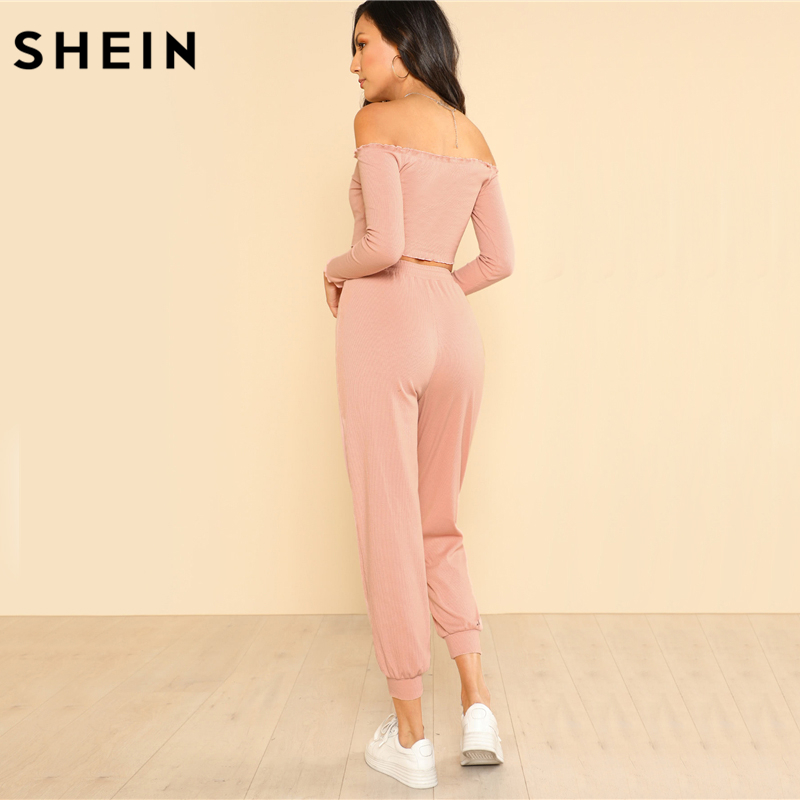 SHEIN Women 2 Piece Set Top and Pants Casual Woman Set Off the Shoulder Crop Bardot Top and Drawstring Pants Set 2