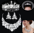 2015 Cheap Sale Rhinestone Jewelry sets Silver Plated Unique Wedding Jewelry Set Bridal Tiara Necklace Earrings