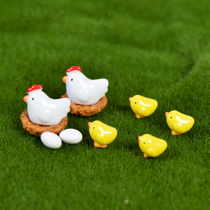 10Pcs/Set Hen Chicken Chick Egg Nest Small Pasture Statue Miniatures Ornament For DIY Fairy Garden Dollhouse Plant Decoration