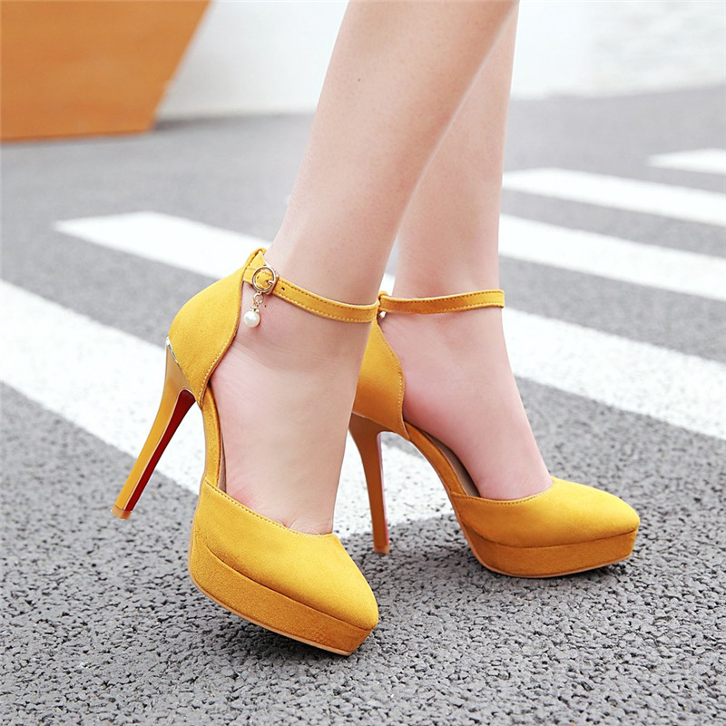 YMECHIC 2018 Plus Size Ankle Strap Mary Janes Shoes Woman High Heels Flock Red Yellow Party