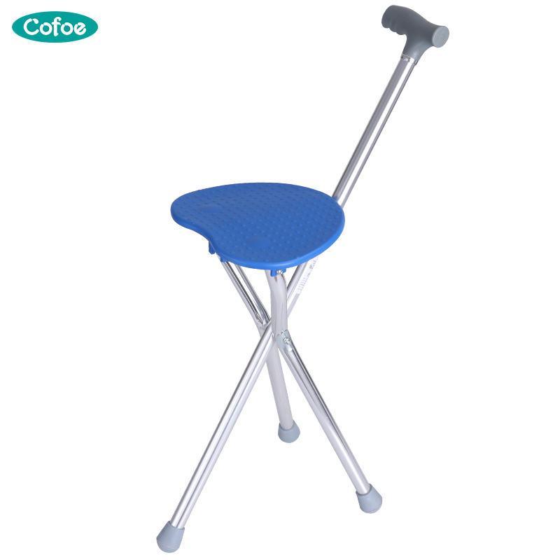 Cofoe 2 in 1 Folding Aluminium Lightweight Walking Stick with Seat Mobility tripod Stool Multifunction Walking Cane for Elderly the elderly to help line device handrail help frame the old man walking aid walking cane chair stool