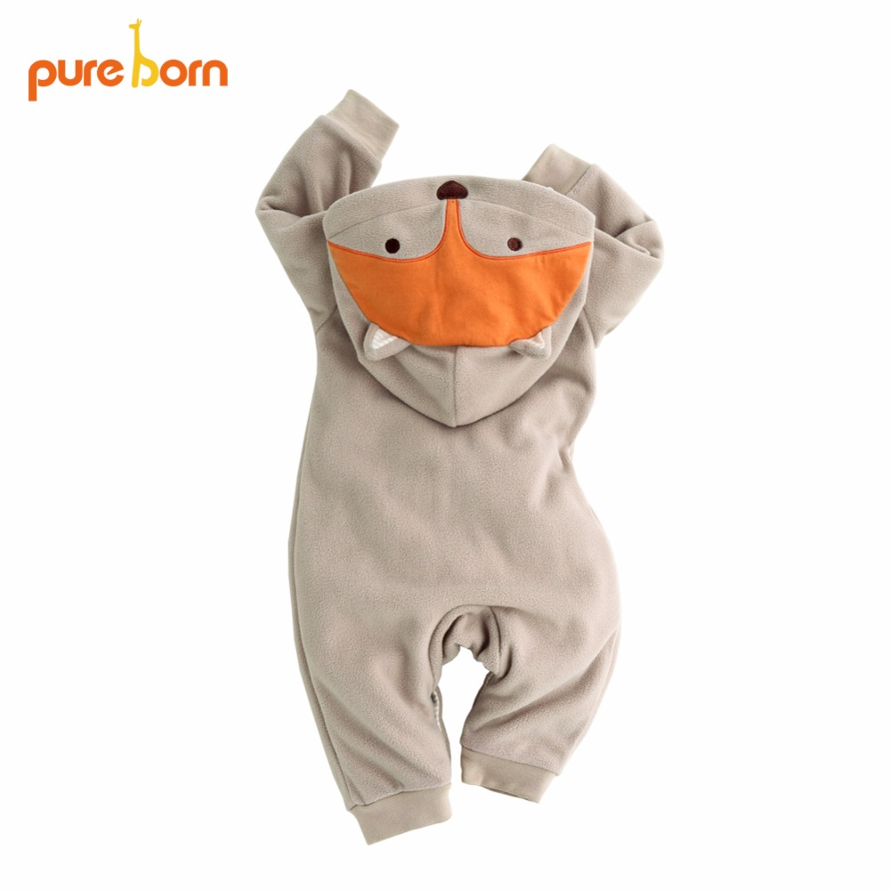 Pureborn Cute Fox Hooded Baby Romper Unisex Winter Thicken Baby Clothing for Newborn Overalls Creepers Lovely Girl Boy Jumpsuits