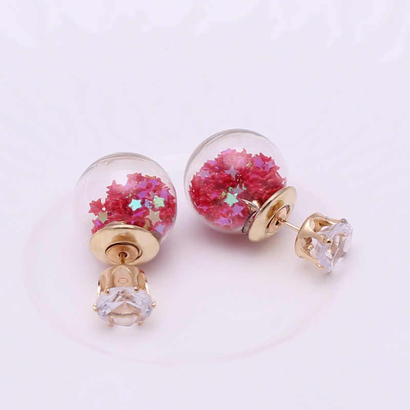תכשיטי אופנה חדשים כתר זהב קריסטל הניצוץ זוגי גדול צדדים זכוכית פרל Stud עגילי נשים עגיל עגילי כוכבים כדור