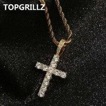 TOPGRILLZ хип хоп Пико Харви крест кулон цепочки и ожерелья Micro Pave AAAA + кубический цирконий Египетский стиль 24 «30» цепи