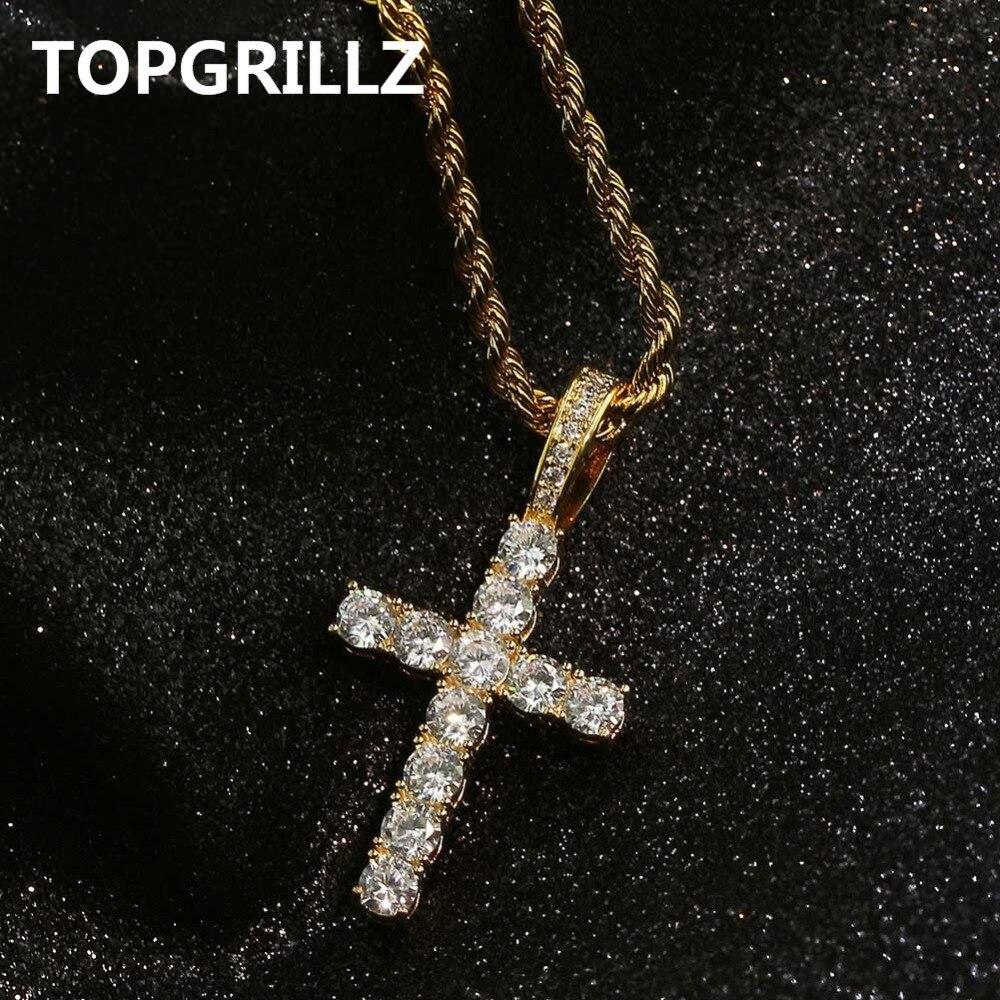 TOPGRILLZ Hip Hop Pico Harvey Cruz colgante collar Micro Pave AAAA + Zirconia cúbica estilo egipcio collar 24