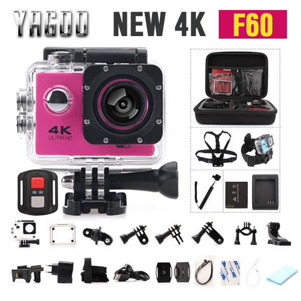 Original F60 Ultra 4 k Esporte de Ação Câmera Wi-fi 2.0 Lcd 170 Graus de Largura Lente Capacete Cam 30 m Debaixo D' Água à prova d' água