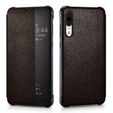Vintage Auto On/ Off Smart Flip Genuine Leather Case For Huawei P20 Pro Cover Luxury Ultra Thin Full Protection Fundas