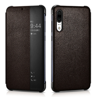 Vintage Auto On/ Off Smart Flip Genuine Leather Case For Huawei P20 P20 Pro Cover Luxury Ultra Thin Full Protection Case Fundas