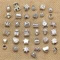 PULCHRITUDE 50Pcs Vintage Big Hole Beads Fit Bracelets  Charms Antique Silver Metal Mixed DIY Beads Charm for Bracelets T0545