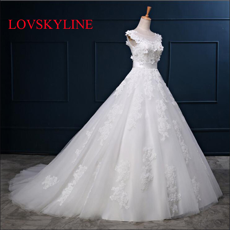 Real pictures 2017 Luxury Sweep train Appliques Lace Wedding Dresses Long Tulle Puffy Robe De Mariage