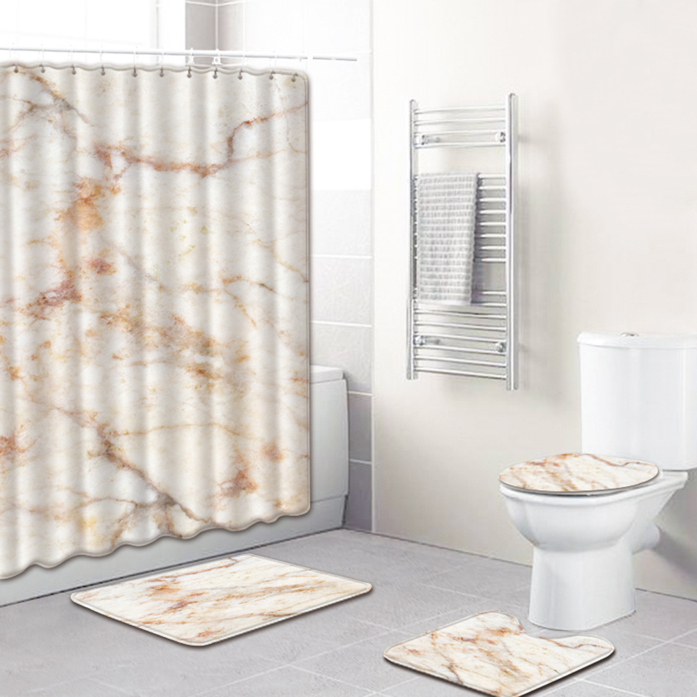 4PCS//Set 1.8M Bathroom Shower Curtain Non Slip Bath Toilet Lid Cover Rugs