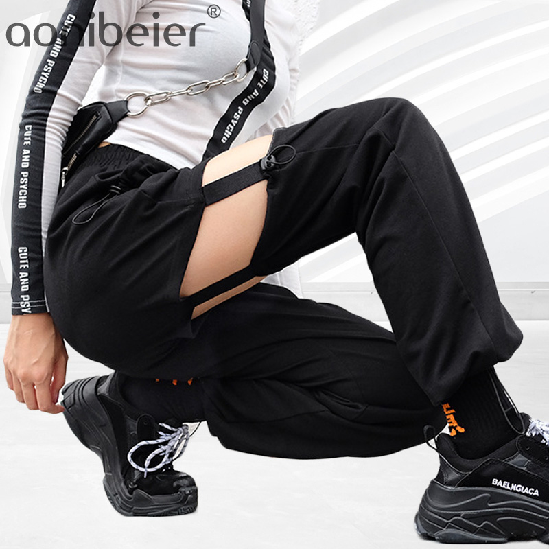 Aonibeier Straight Pants Spring Pleated-Detail Elastic Hollow-Out Autumn Female High-Waist