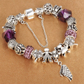 HOMOD Crystal Charm Bracelets for Women With Murano Beads fit Pandora Bracelets&Bangles Femme Love Silver plated Jewelry