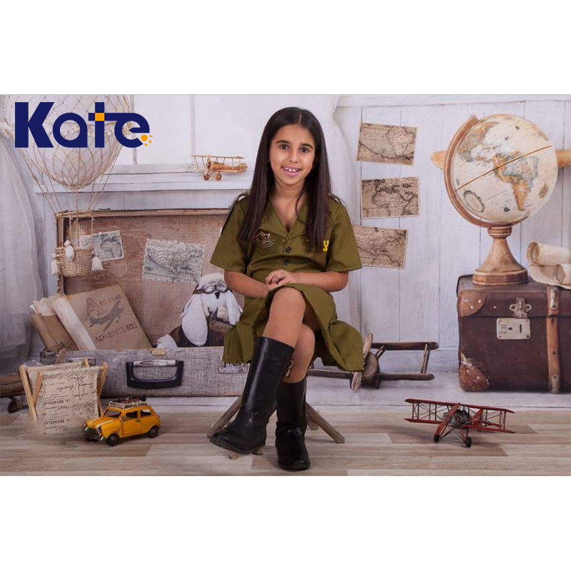 KATE 5x7ft Photo Background Cartoon Room Backdrop for Children Kids White Brick Wall and Wooden Photo Globe and Trunk Backdrop kate digital printing backdrops black brick wall backdrop wood floor photo studio background for children