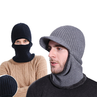 XIANXIANQING Winter Warm Men Hat + Scarf Set Woolen Knitting Caps Thickning Scarves Mens Fashion Hat Set Male Solid Hats AL27750