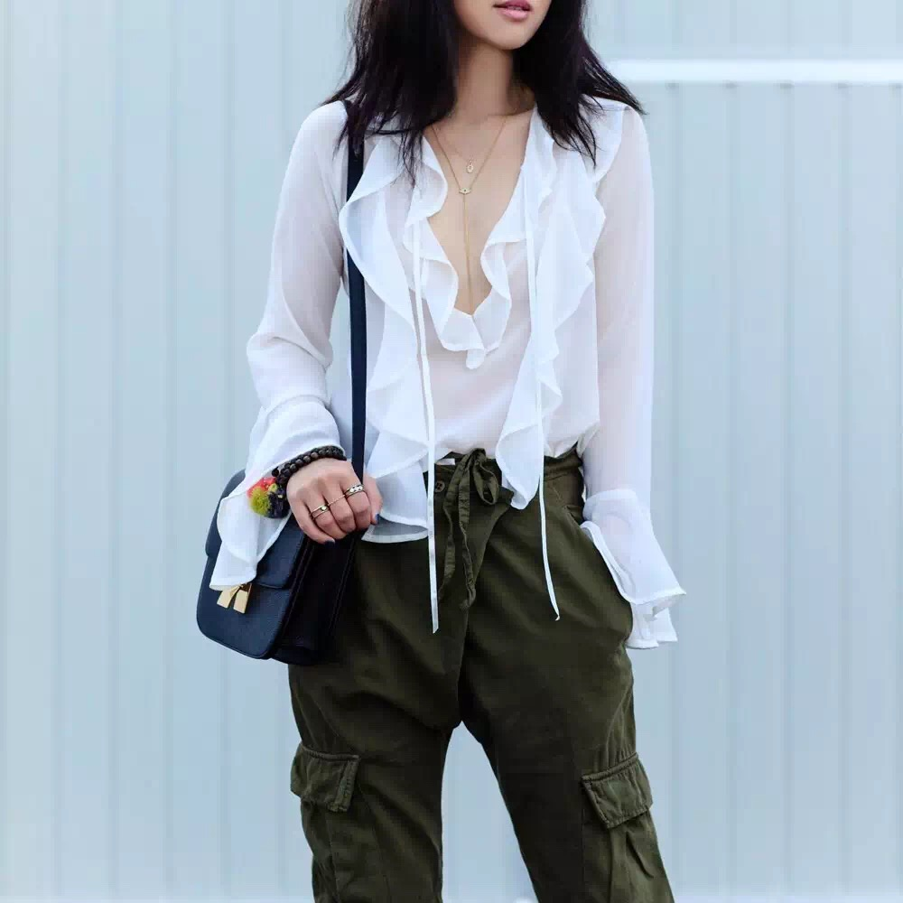 VogaIn Bloggers Fashion Summer White Chiffon Blouse Shirt Front Flounced Frills Detail Lace-up V-neck Long Flared Sleeved Shirts