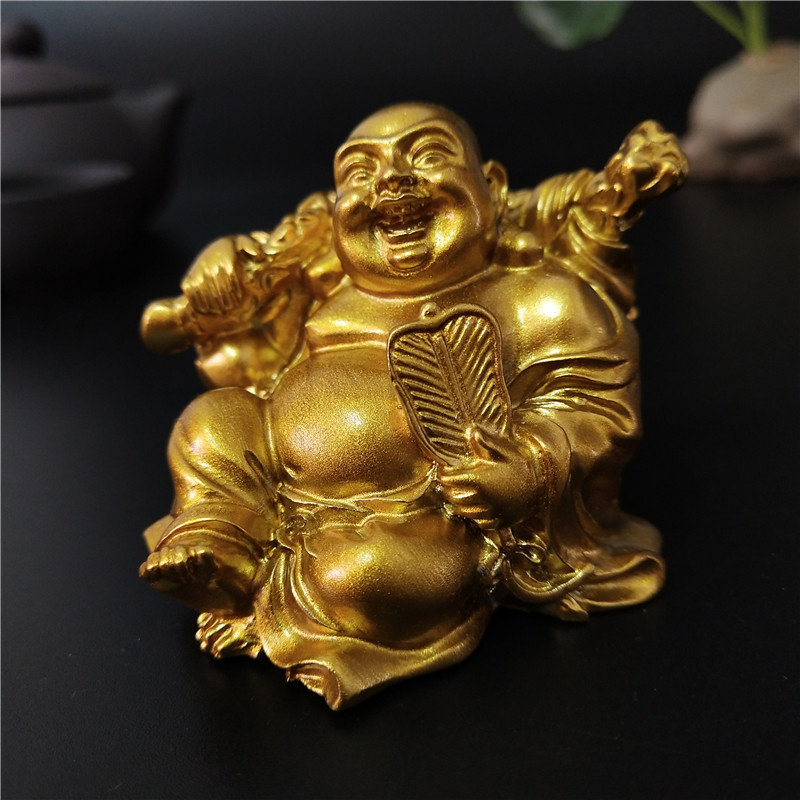 Golden Sitting Maitreya Laughing Buddha Statue Sculptures Figurines Ornaments Feng Shui Garden Home Decoration Buddha Statues