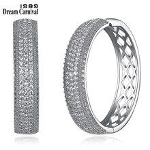 DreamCarnival1989 Fashion Hoop Earrings Rhodium Color Cubic Zirconia Women Luxury Wedding Anniversary Party Jewelries SE23883-WR