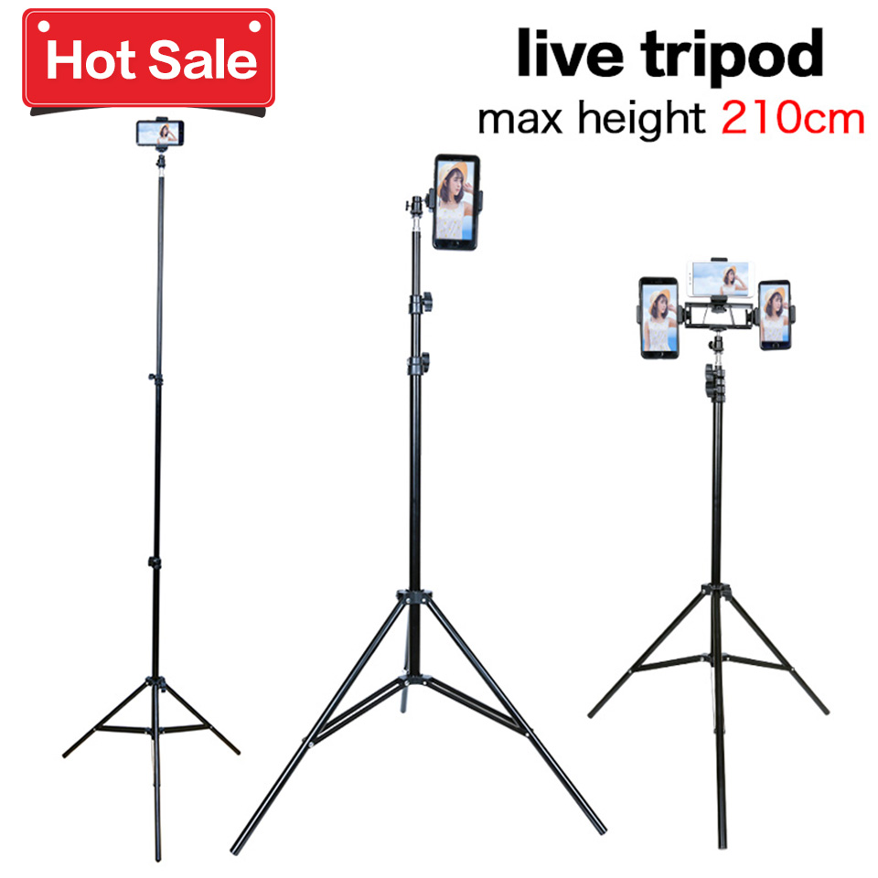 Camera Live Tripod For Phone Live Equipment Aluminum 210cm Lightweight Tripod with phone holder for smart iphone ipad youtube