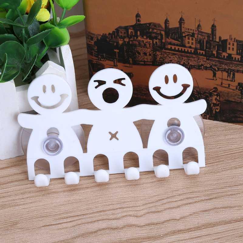 1 قطعة فرشاة الأسنان حامل الحائط شفط كأس 5 موقف لطيف الكرتون ابتسامة أطقم حمام