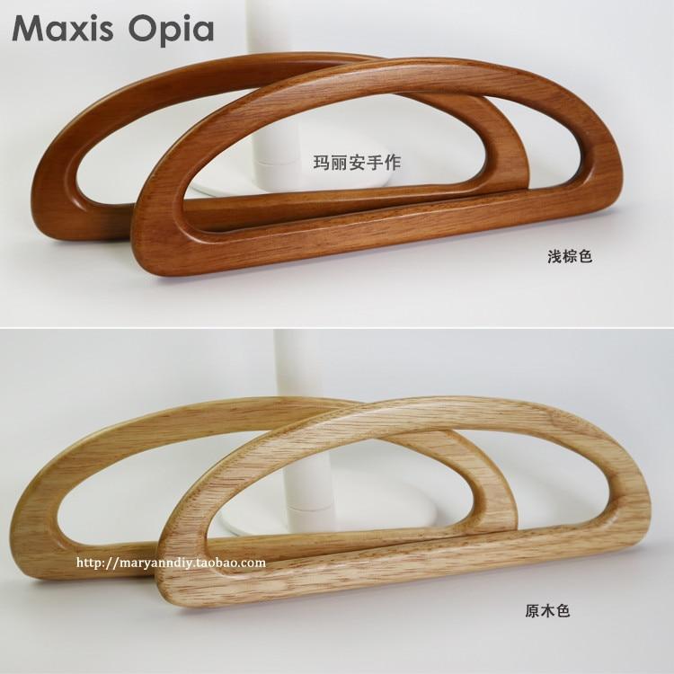 One Pair = Two Pieces 24X9cm Solid Wood D Shape Bags Handle Wooden Purse Frame Hanger DIY Handbag Accessories Wooden Bag Handle