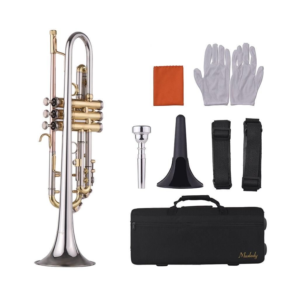 Muslady Bb trompette Design multicolore avec embout support trompette sac de transport gants chiffon de nettoyage Instrument en laiton