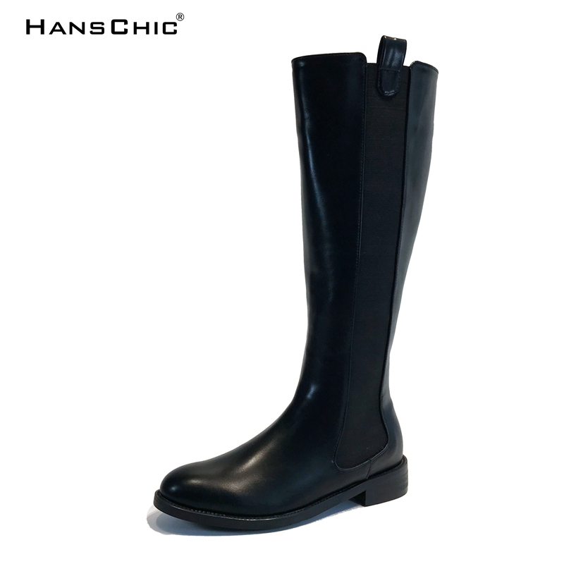 HANSCHIC 2017 New Arrival Winter Black Special Design Vintage Style Leather Ladies Womens Casual Knee High Boots for Female 2306