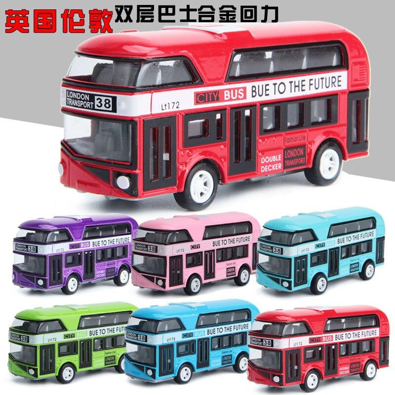 5 Colour  Double-decker Bus   Mater Metal Diecast Toy Car 1:43 Boy Gift For Children Kids Toys