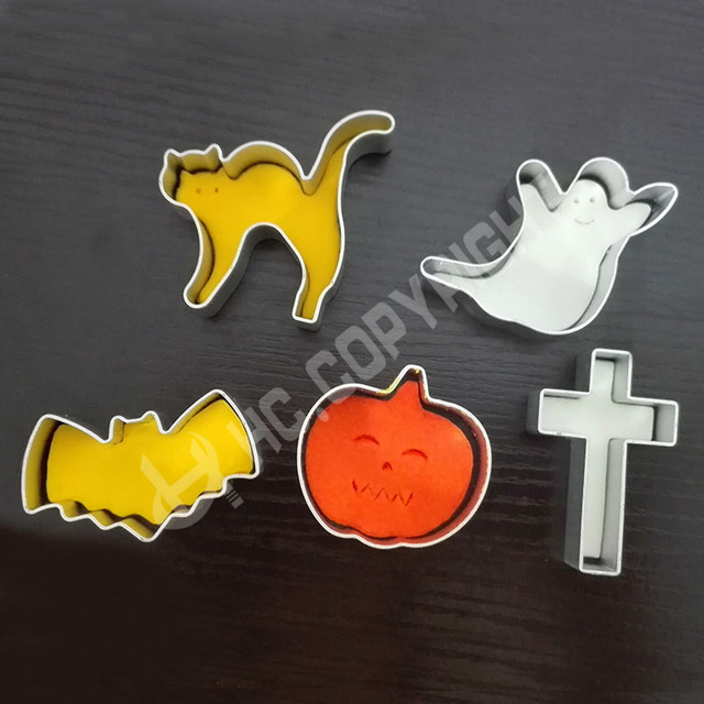 5 Pcs Halloween Style Cookie Biscuit Moule Cutter Aluminium