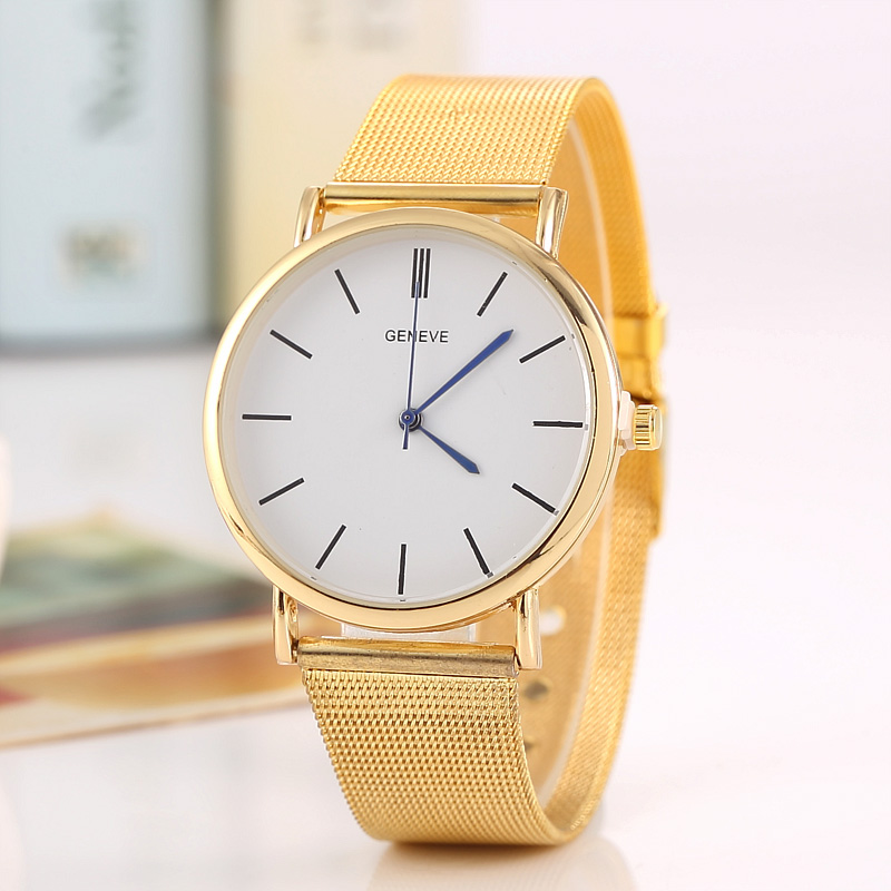 2017 New Famous Brand Gold Casual Quartz Watch Women Metal Mesh Stainless Steel Dress Watches Relogio Feminino Clock Hot Sale 2016 new famous brand silver watch women casual quartz clock women metal mesh stainless steel dress watches relogio feminino