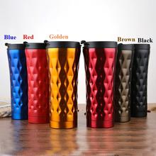 Solid Diamond Shape Coffee Thermo Mug Cup 500ML Double Layer Stainless Steel Car Portable Thermos Insulated Tumbler
