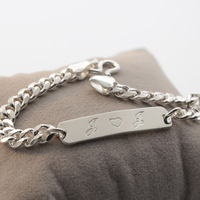 Personalized Bar Bracelet Engraved Men Bracelet Customized 925 Solid Men Bracelet Silver With Curb Chain Special