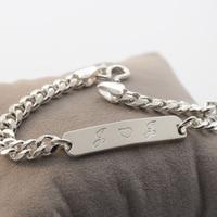 925 Solid Personalized Bar Bracelet,Engraved Men Bracelet ,Customized Men Bracelet Silver With Curb Chain Special Gift