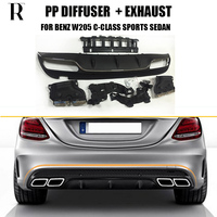 C63 Style 4 Outlet PP Rear Diffuser with Exhaust Tips for Benz W205 C200 C260 4 Door Change to C63 AMG look ( can't fit Coupe )